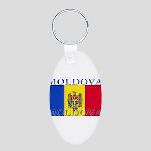 Moldova Aluminum Oval Keychain
