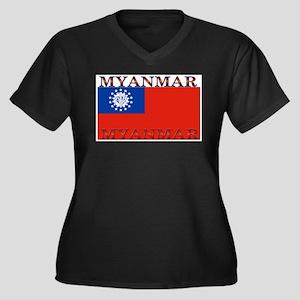 Myanmar.jpg Women's Plus Size V-Neck Dark T-Shirt