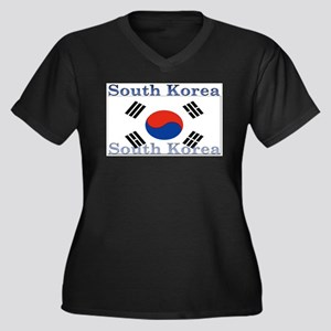 SouthKorea Women's Plus Size V-Neck Dark T-Shi