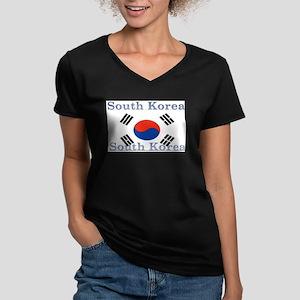 SouthKorea Women's V-Neck Dark T-Shirt