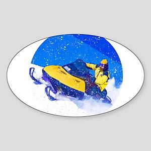 Yellow Snowmobile in Blizzard Sticker