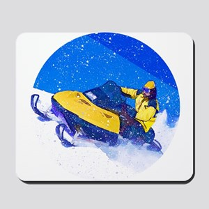 Yellow Snowmobile in Blizzard Mousepad