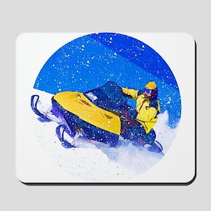 Yellow Snowmobile in Blizzard Mousepad