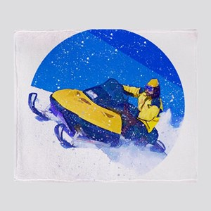 Yellow Snowmobile in Blizzard Throw Blanket