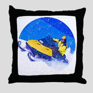 Yellow Snowmobile in Blizzard Throw Pillow