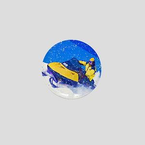 Yellow Snowmobile in Blizzard Mini Button