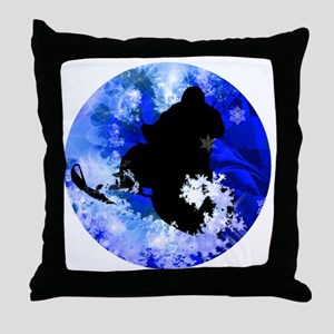 Snowmobiling in the Avalanche Throw Pillow