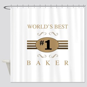 World's Best Baker Shower Curtain