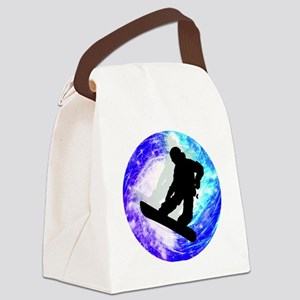 Snowboarder in Whiteout Canvas Lunch Bag