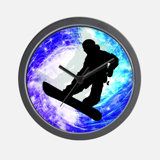 Snowboarder in Whiteout Wall Clock