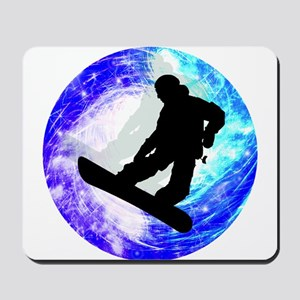 Snowboarder in Whiteout Mousepad