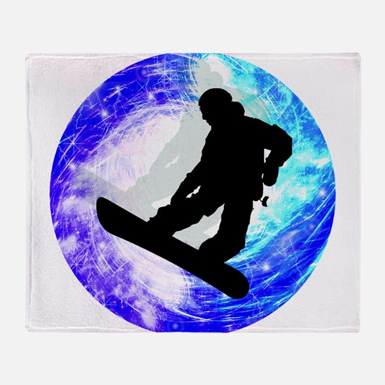 Snowboarder in Whiteout Throw Blanket