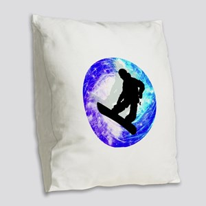 Snowboarder in Whiteout Burlap Throw Pillow