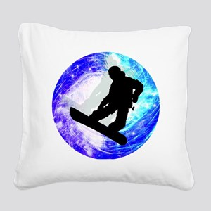 Snowboarder in Whiteout Square Canvas Pillow