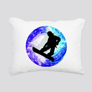 Snowboarder in Whiteout Rectangular Canvas Pillow