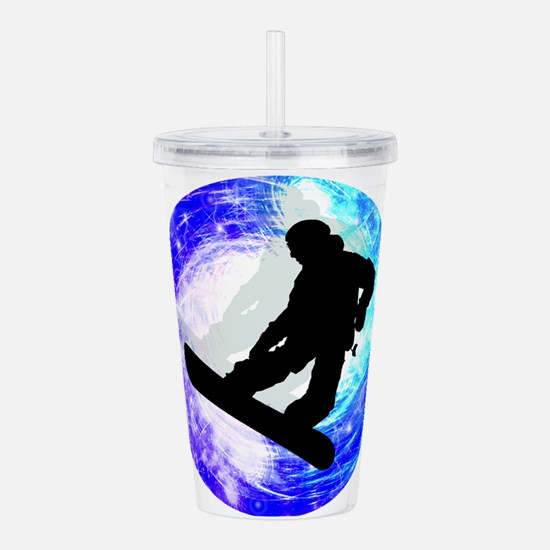 Snowboarder in Whiteou Acrylic Double-wall Tumbler