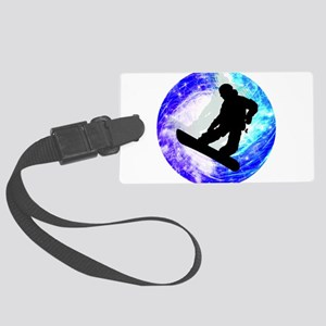 Snowboarder in Whiteout Large Luggage Tag