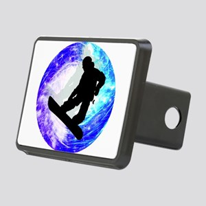 Snowboarder in Whiteout Rectangular Hitch Cover