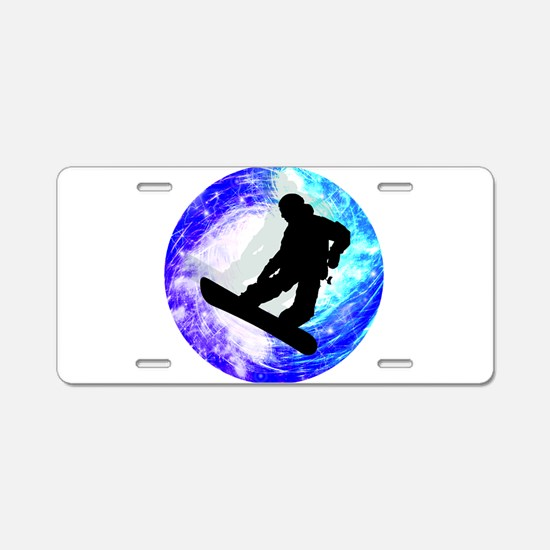 Snowboarder in Whiteout Aluminum License Plate