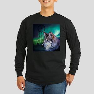 native dream catcher wolf nort Long Sleeve T-Shirt