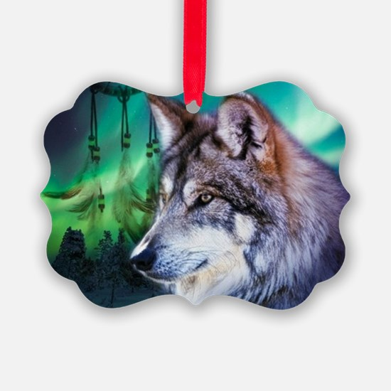 native dream catcher wolf norther Ornament