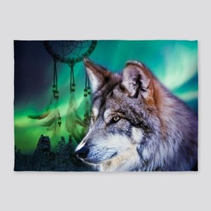 native dream catcher wolf northern 5'x7'Area Rug