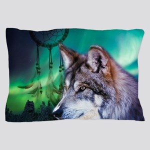 native dream catcher wolf northern lig Pillow Case
