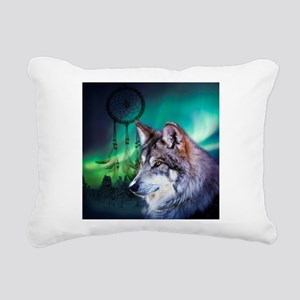 native dream catcher wol Rectangular Canvas Pillow