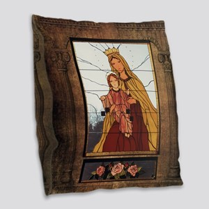 Our Lady of Mount Carmel Burlap Throw Pillow