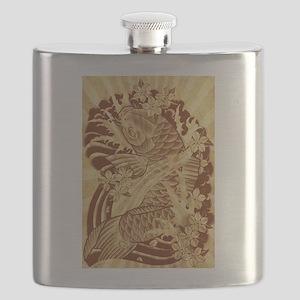 vintage japanese koi fish Flask
