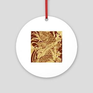 vintage japanese koi fish Ornament (Round)
