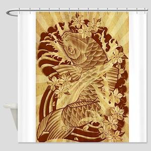 vintage japanese koi fish Shower Curtain