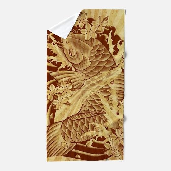 vintage japanese koi fish Beach Towel