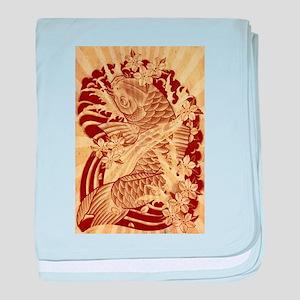 vintage japanese koi fish baby blanket