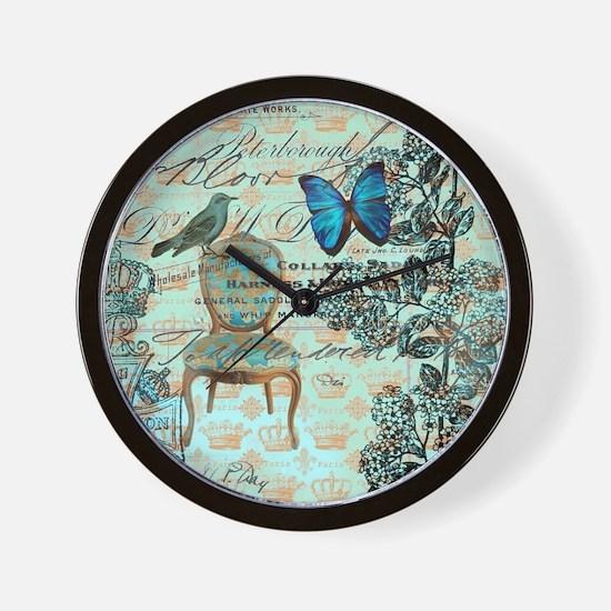 mint vintage jubilee butterfly floral b Wall Clock
