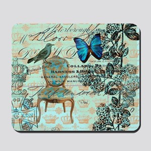 mint vintage jubilee butterfly floral bo Mousepad