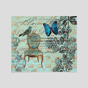 mint vintage jubilee butterfly flora Throw Blanket