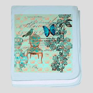 mint vintage jubilee butterfly floral baby blanket