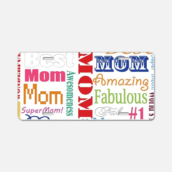 Text Mom Aluminum License Plate