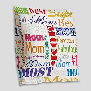 Text Mom Burlap Throw Pillow
