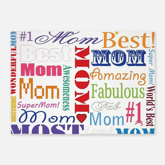Text Mom 5'x7'Area Rug