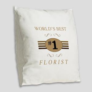 World's Best Florist Burlap Throw Pillow