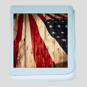 grunge USA flag baby blanket