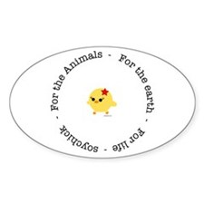 For the Animals, Earth and Life Oval Sticker