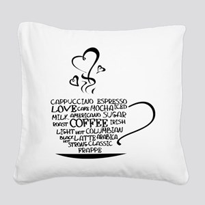 Coffee Cup Square Canvas Pillow