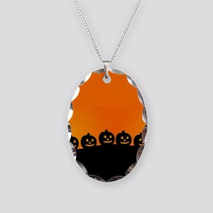 Spooky Halloween Pumpkins Necklace Oval Charm