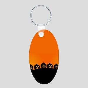 Spooky Halloween Pumpkins Aluminum Oval Keychain