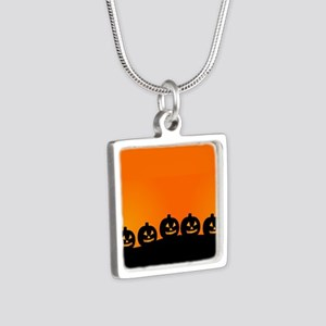 Spooky Halloween Pumpkins Silver Square Necklace