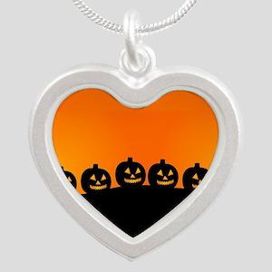 Pumpkins! Silver Heart Necklace