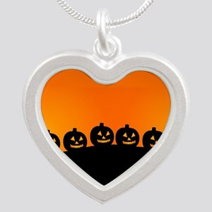 Spooky Halloween Pumpkins Silver Heart Necklace